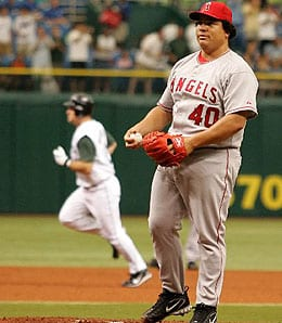 Bartolo Colon is getting bitch slapped for the Los Angeles Angels.