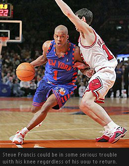 New York Knicks guard Steve Francis is having major problems with his knee tendinitis. He may be forced into early retirement.