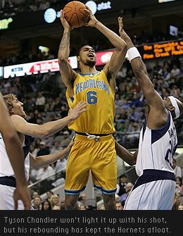 New Orleans/Oklahoma City Hornets centre Tyson Chandler can't shoot much, but is one of the NBA's best rebounders.