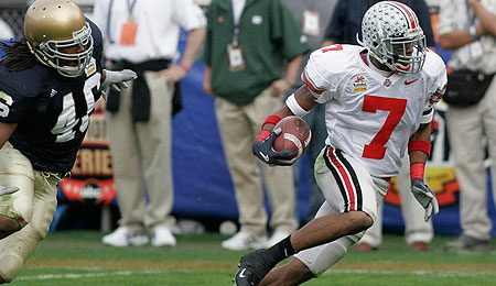 Ohio State Buckeyes wide receiver Ted Ginn Jr. will likely go in the first half of the first round.