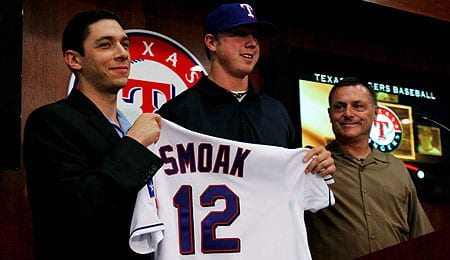 Justin Smoak has arrived in the bigs for the Texas Rangers.