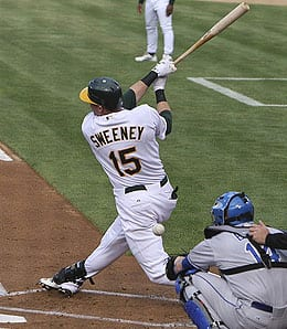 Ryan Sweeney is batting third for the Oakland A's.
