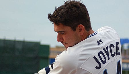 Matt Joyce is looking for his first hit of the season for the Tampa Bay Rays.