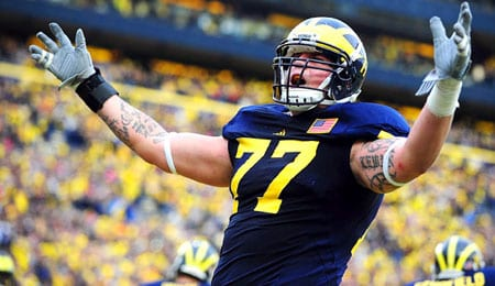 Taylor Lewan is a likely first rounder for the Michigan Wolverines.