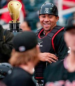 Miguel Olivo went Medieval for the Albuquerque Isotopes.
