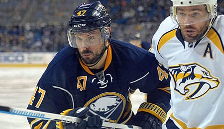 Zach Bogosian has picked up his offense for the Buffalo Sabres.